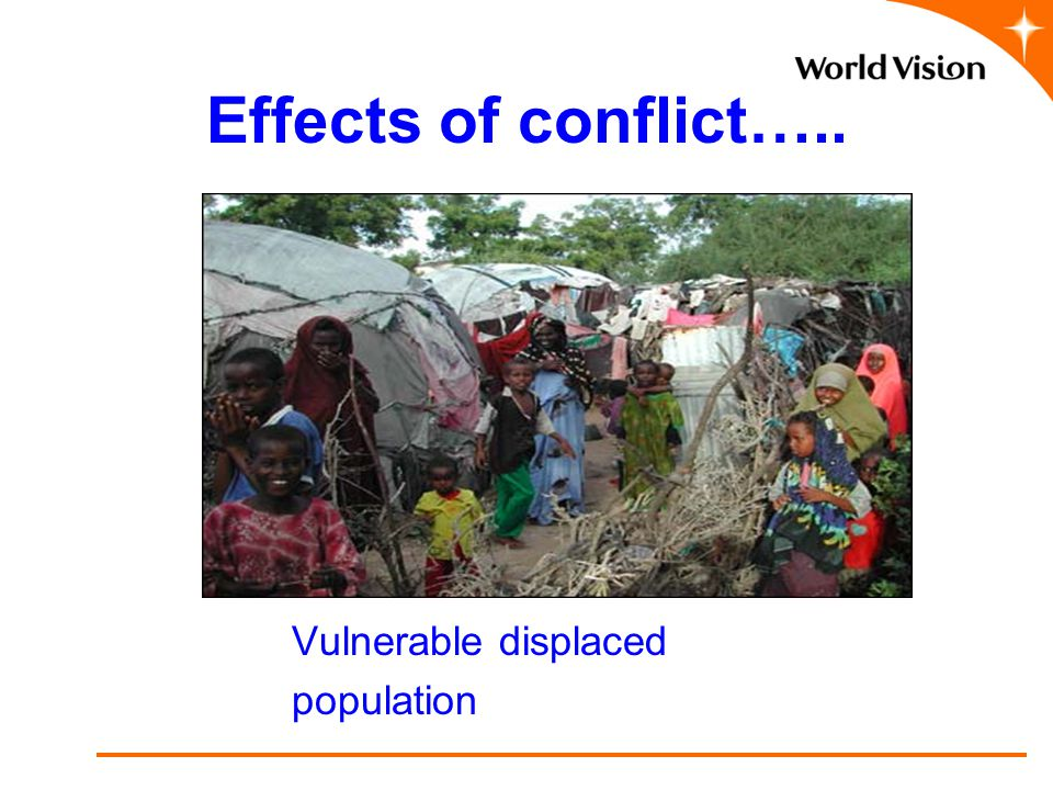 Effects of conflict….. Vulnerable displaced population