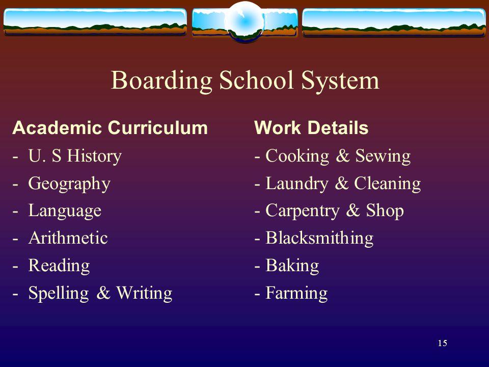 15 Boarding School System Academic Curriculum - U.
