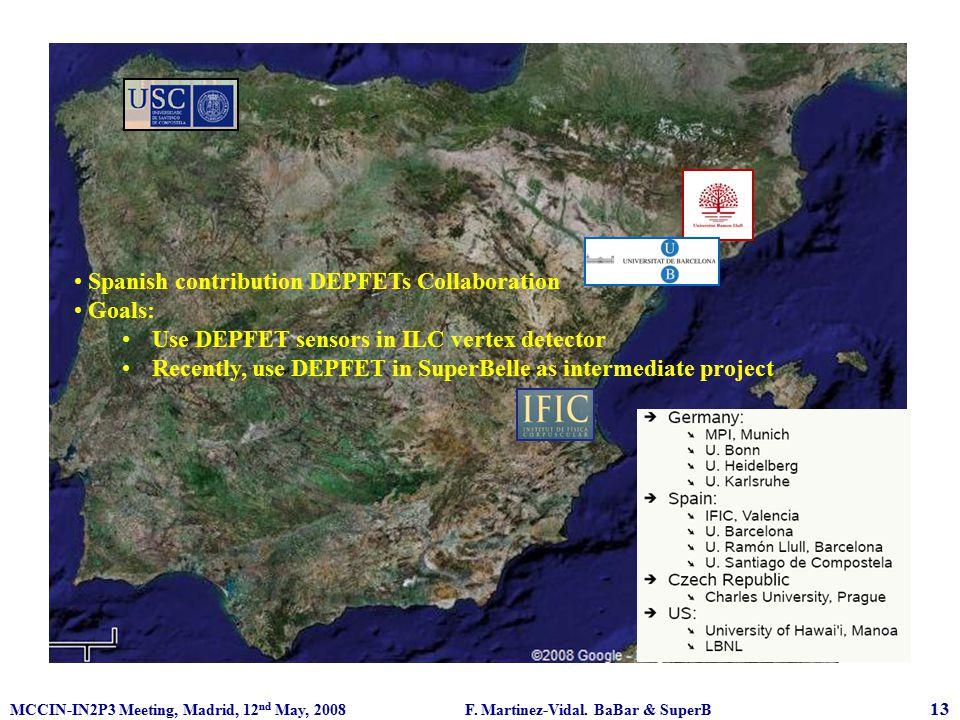MCCIN-IN2P3 Meeting, Madrid, 12 nd May, 2008 F. Martinez-Vidal. BaBar & SuperB 13 Spanish contribution DEPFETs Collaboration Goals: Use DEPFET sensors