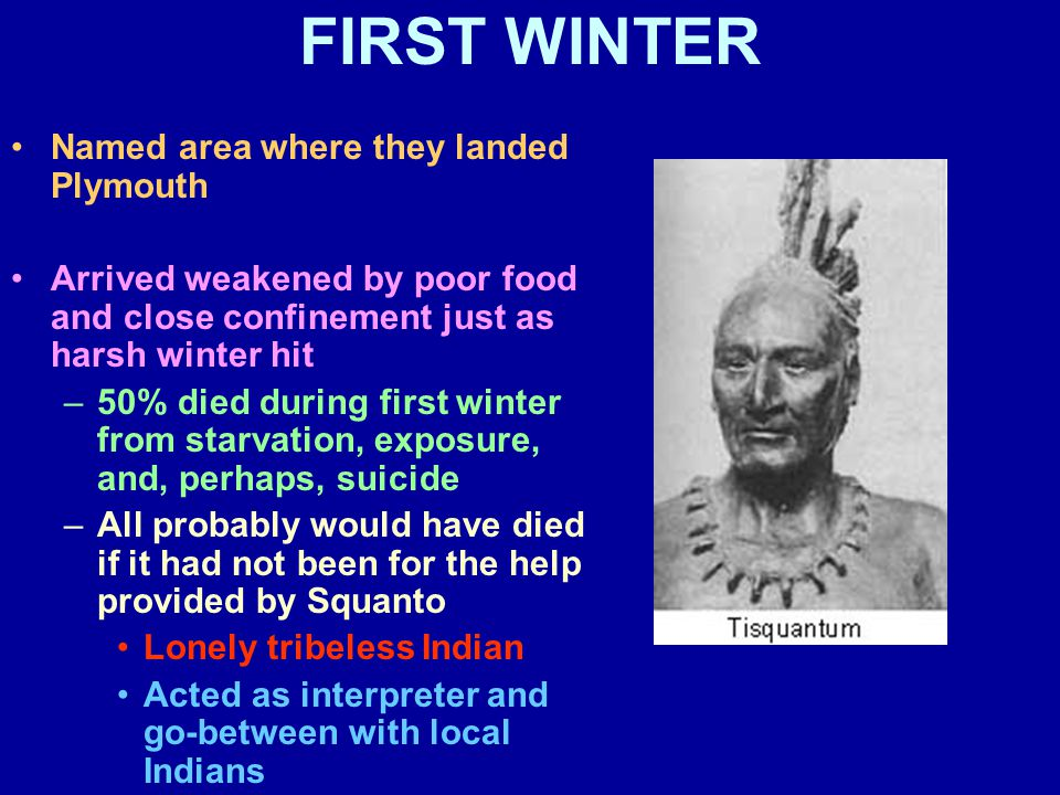 FIRST WINTER Named area where they landed Plymouth Arrived weakened by poor food and close confinement just as harsh winter hit –50% died during first winter from starvation, exposure, and, perhaps, suicide –All probably would have died if it had not been for the help provided by Squanto Lonely tribeless Indian Acted as interpreter and go-between with local Indians
