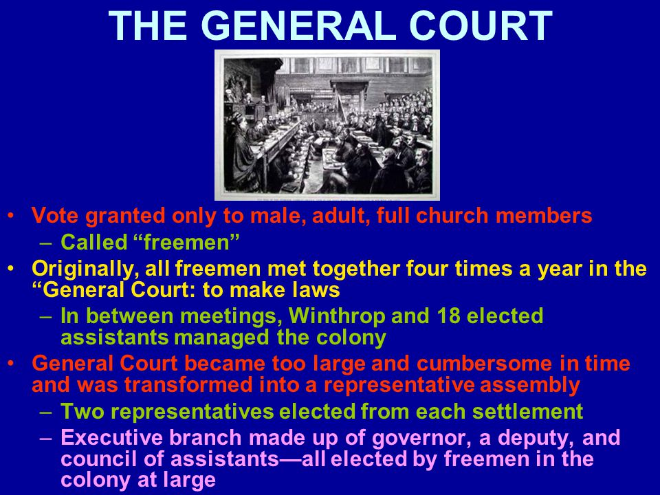 THE GENERAL COURT Vote granted only to male, adult, full church members –Called freemen Originally, all freemen met together four times a year in the General Court: to make laws –In between meetings, Winthrop and 18 elected assistants managed the colony General Court became too large and cumbersome in time and was transformed into a representative assembly –Two representatives elected from each settlement –Executive branch made up of governor, a deputy, and council of assistants—all elected by freemen in the colony at large