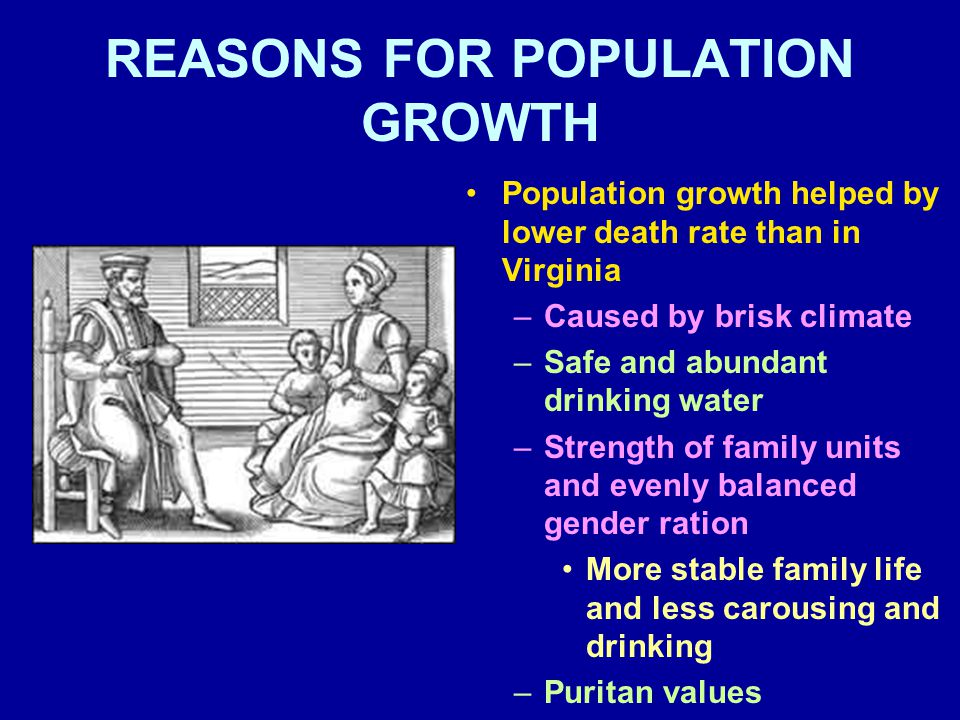 REASONS FOR POPULATION GROWTH Population growth helped by lower death rate than in Virginia –Caused by brisk climate –Safe and abundant drinking water –Strength of family units and evenly balanced gender ration More stable family life and less carousing and drinking –Puritan values