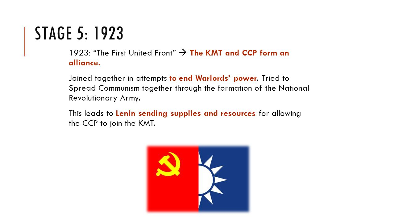 STAGE 5: 1923 1923: The First United Front  The KMT and CCP form an alliance.
