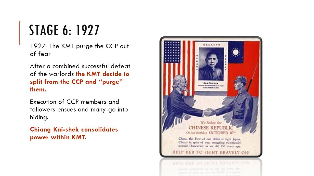 STAGE 6: 1927 1927: The KMT purge the CCP out of fear After a combined successful defeat of the warlords the KMT decide to split from the CCP and purge them.