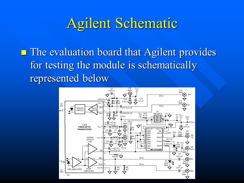 Agilent Schematic The evaluation board that Agilent provides for testing the module is schematically represented below The evaluation board that Agilent provides for testing the module is schematically represented below