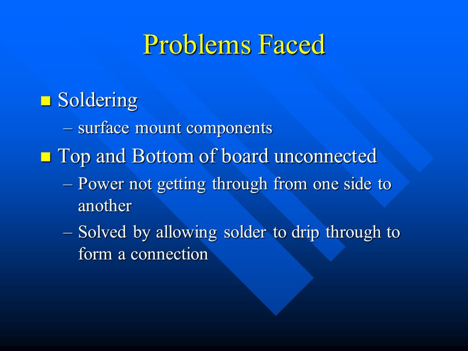 Problems Faced Soldering Soldering –surface mount components Top and Bottom of board unconnected Top and Bottom of board unconnected –Power not getting through from one side to another –Solved by allowing solder to drip through to form a connection