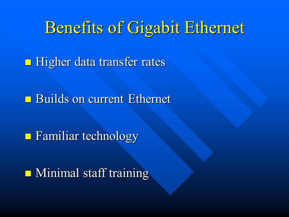 Benefits of Gigabit Ethernet Higher data transfer rates Higher data transfer rates Builds on current Ethernet Builds on current Ethernet Familiar technology Familiar technology Minimal staff training Minimal staff training