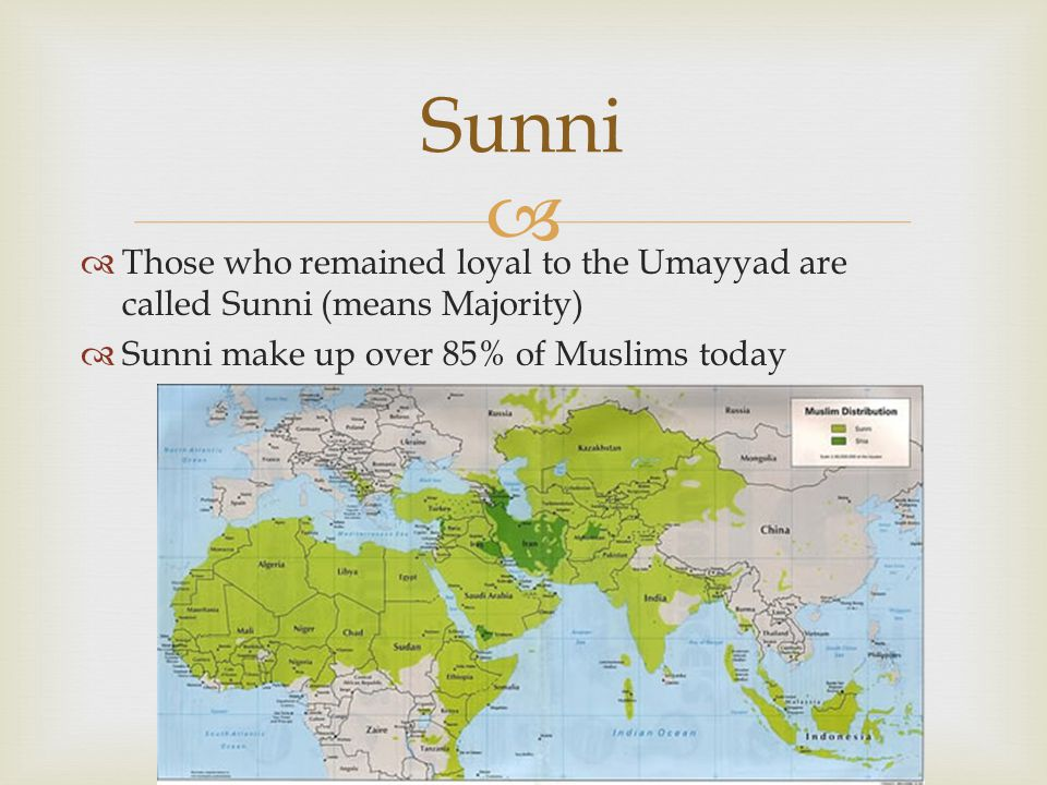   Those who remained loyal to the Umayyad are called Sunni (means Majority)  Sunni make up over 85% of Muslims today Sunni