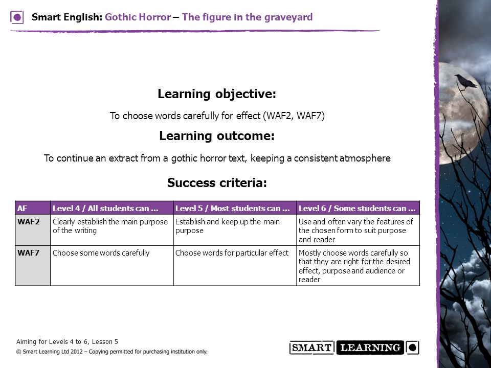 Learning objective: To choose words carefully for effect (WAF2, WAF7) Learning outcome: To continue an extract from a gothic horror text, keeping a co