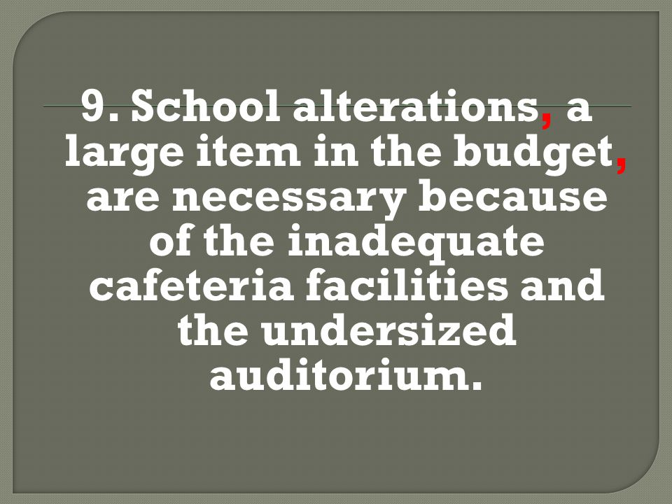 9. School alterations, a large item in the budget, are necessary because of the inadequate cafeteria facilities and the undersized auditorium.