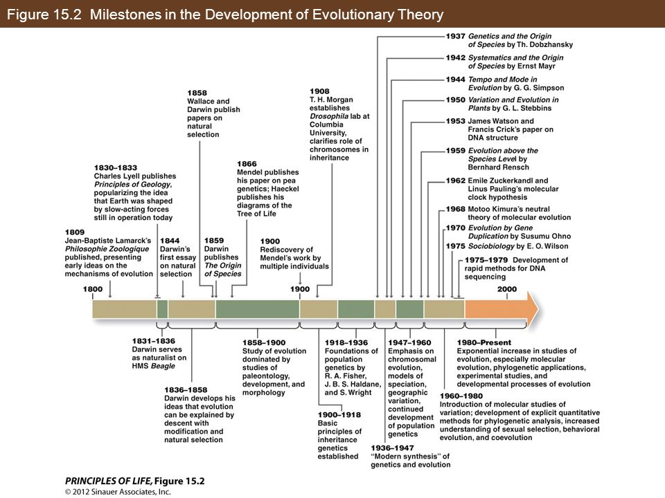 Figure 15.2 Milestones in the Development of Evolutionary Theory