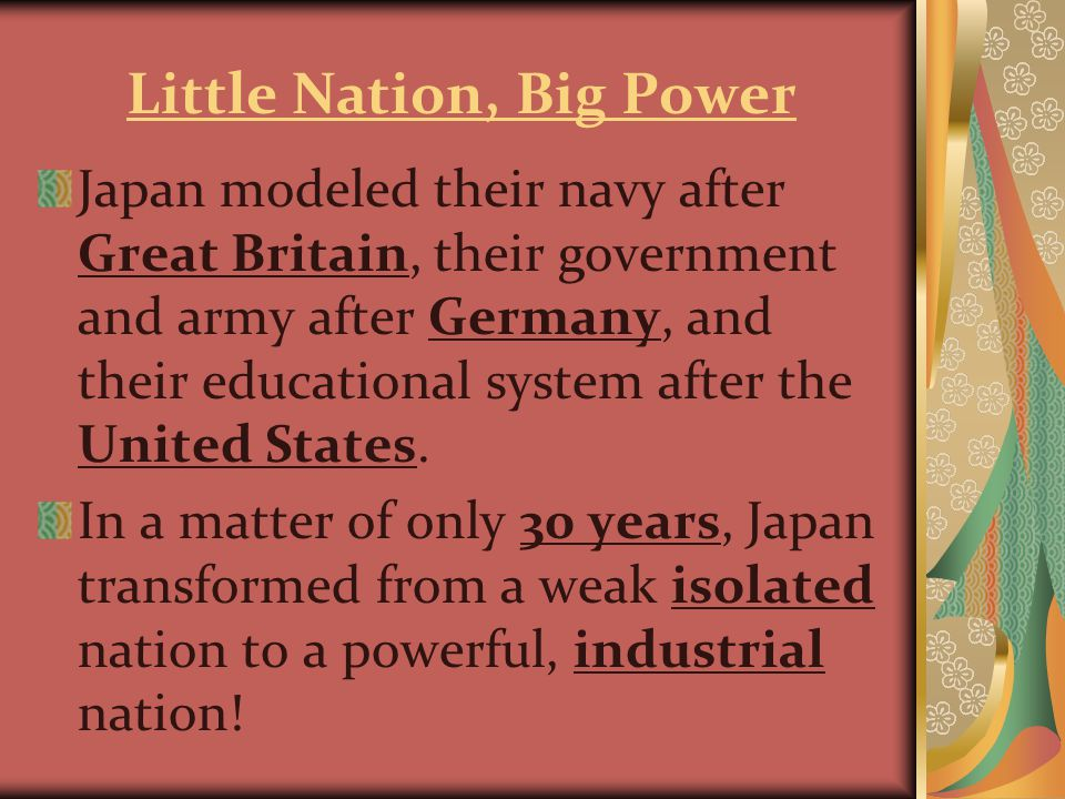 End to Imperialism Japan continued their harsh expansion through WWII.