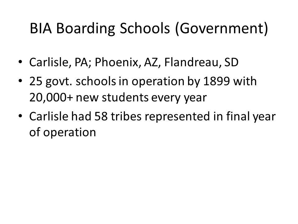 BIA Boarding Schools (Government) Carlisle, PA; Phoenix, AZ, Flandreau, SD 25 govt.