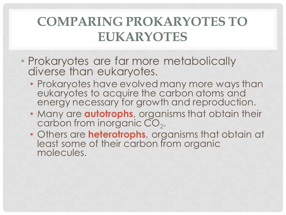 COMPARING PROKARYOTES TO EUKARYOTES Prokaryotes are far more metabolically diverse than eukaryotes. Prokaryotes have evolved many more ways than eukar