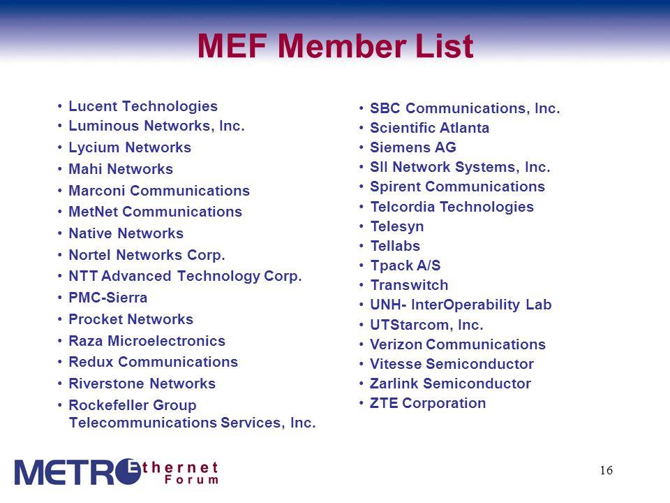 16 MEF Member List Lucent Technologies Luminous Networks, Inc.