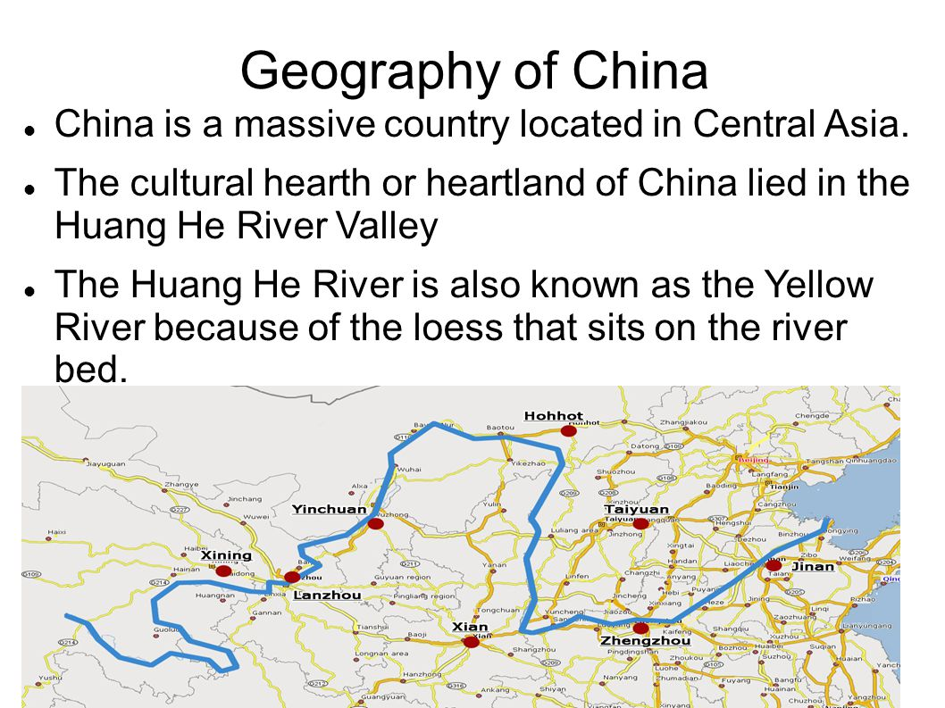 Geography of China (cont.) The industrial area of China was the Yangtze River.