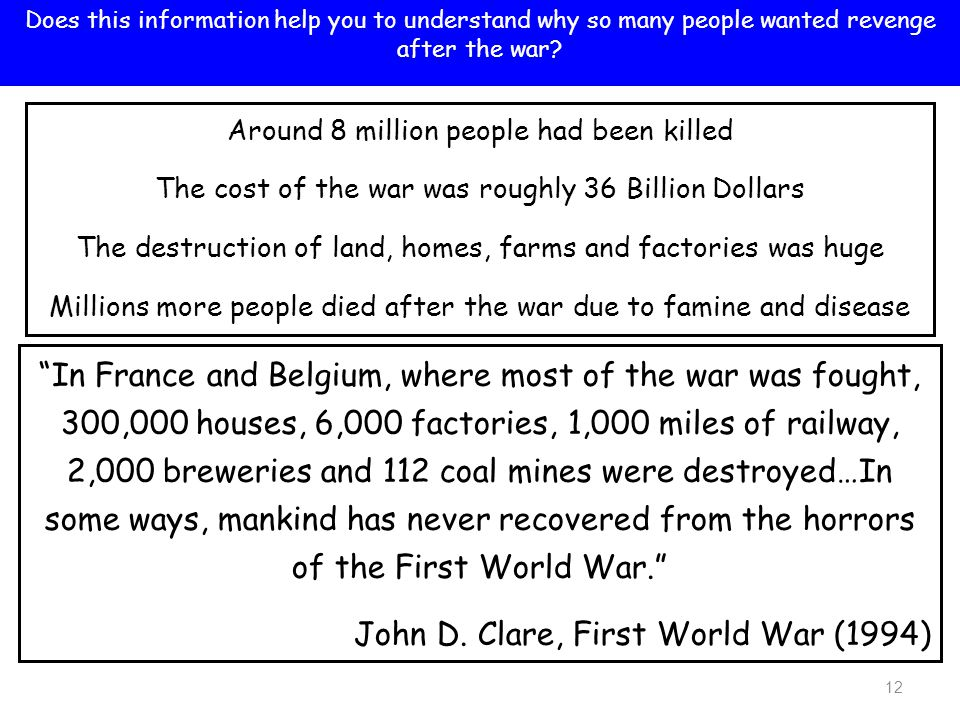 13 Discuss how difficult must it have been for the Allies to get the right balance between punishment and creating a lasting peace.