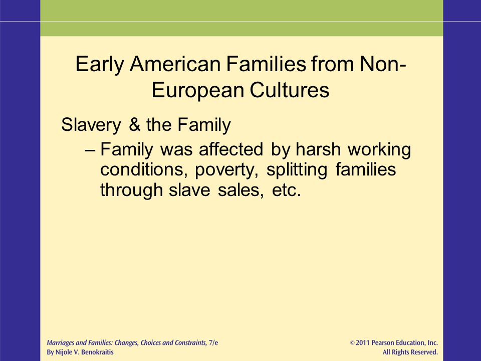 Early American Families from Non- European Cultures Slavery & the Family –Family was affected by harsh working conditions, poverty, splitting families