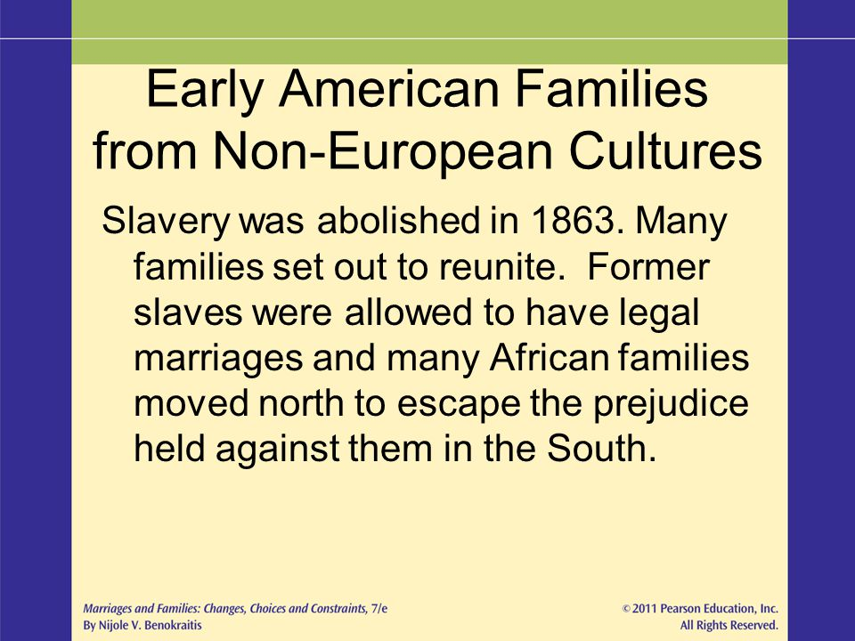 Early American Families from Non-European Cultures Slavery was abolished in 1863. Many families set out to reunite. Former slaves were allowed to have