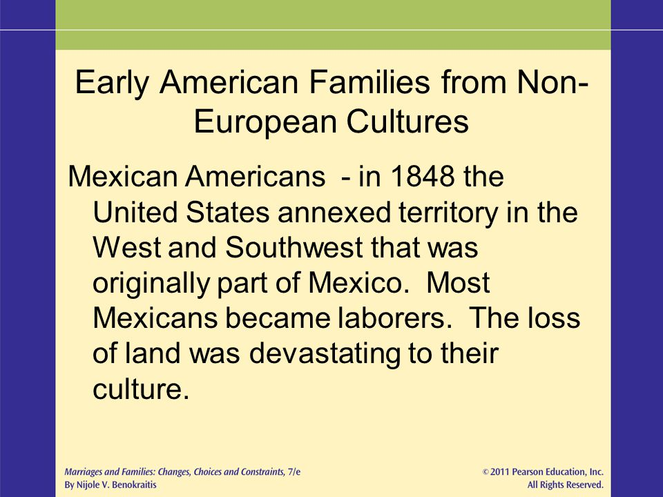 Early American Families from Non- European Cultures Mexican Americans - in 1848 the United States annexed territory in the West and Southwest that was