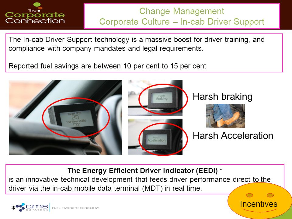 Change Management Corporate Culture – In-cab Driver Support The In-cab Driver Support technology is a massive boost for driver training, and compliance with company mandates and legal requirements.