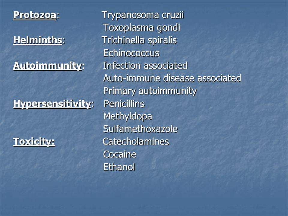 Pathogenesis Three phases: Three phases: Viral Replication Viral Replication Autoimmune injury Autoimmune injury Dilated cardiomyopathy Dilated cardiomyopathy