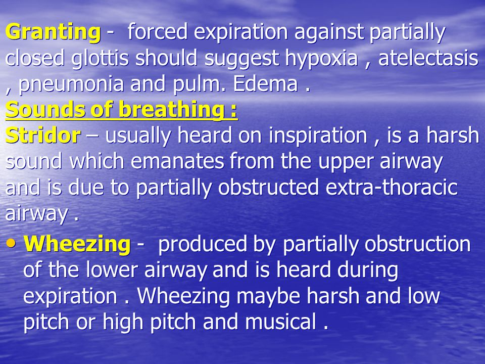 Granting - forced expiration against partially closed glottis should suggest hypoxia, atelectasis, pneumonia and pulm.