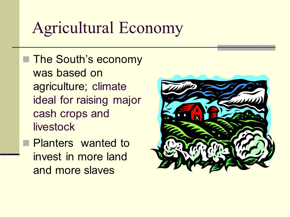 Agricultural Economy The South's economy was based on agriculture; climate ideal for raising major cash crops and livestock Planters wanted to invest