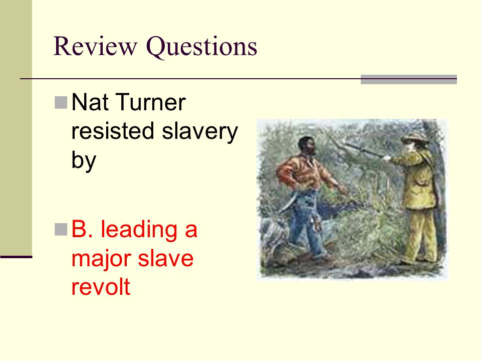 Review Questions Nat Turner resisted slavery by B. leading a major slave revolt