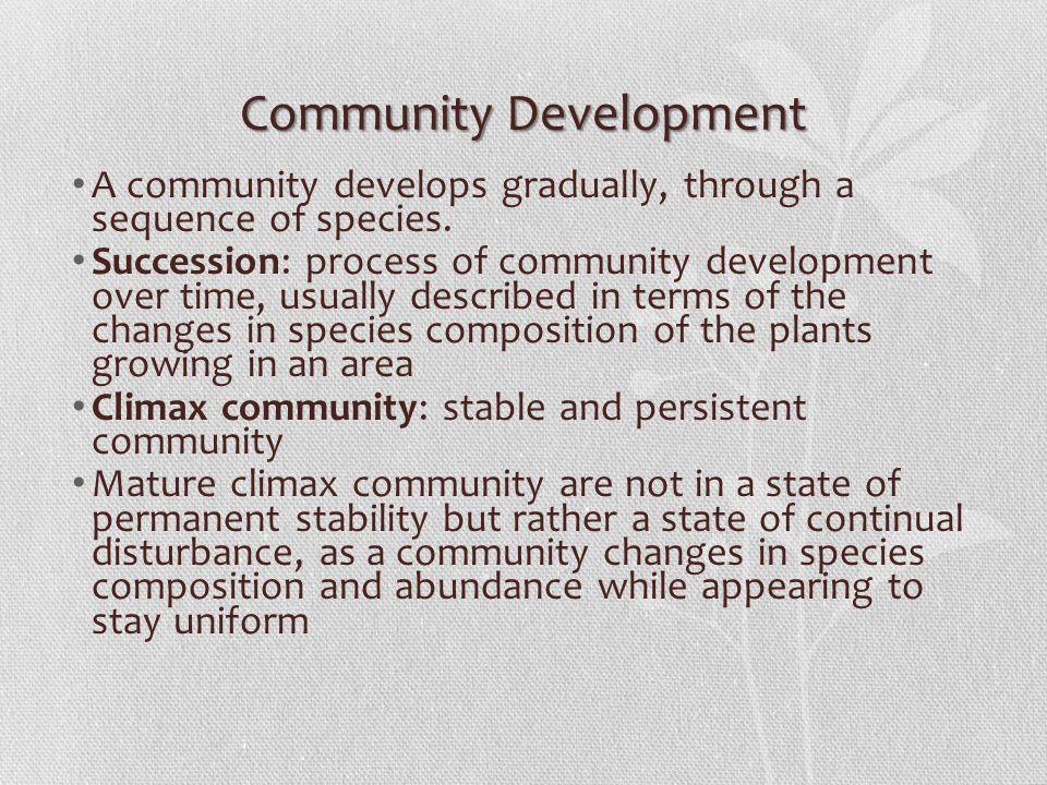 Community Development A community develops gradually, through a sequence of species.