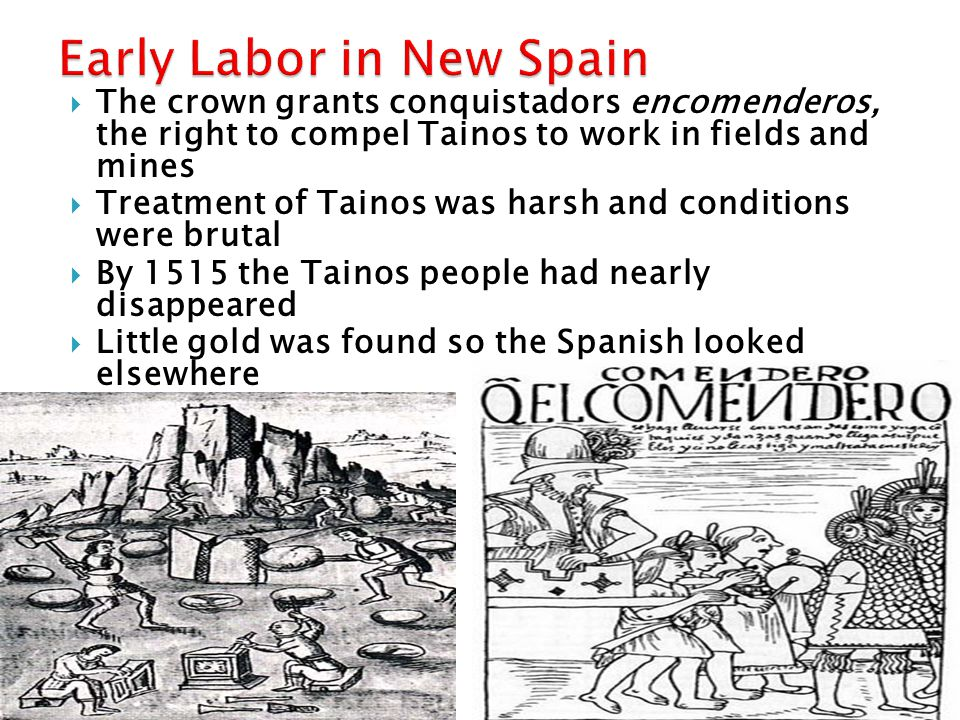 a system of using indigenous people for forced labor develops  The crown grants conquistadors encomenderos, the right to compel Tainos to work in fields and mines  Treatment of Tainos was harsh and conditions were brutal  By 1515 the Tainos people had nearly disappeared  Little gold was found so the Spanish looked elsewhere