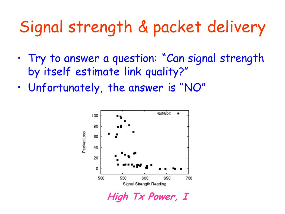 Signal strength & packet delivery Try to answer a question: Can signal strength by itself estimate link quality? Unfortunately, the answer is NO High Tx Power, I