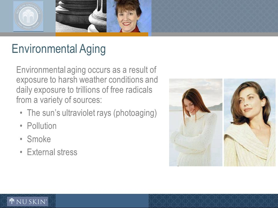 Environmental aging occurs as a result of exposure to harsh weather conditions and daily exposure to trillions of free radicals from a variety of sources: The sun's ultraviolet rays (photoaging) Pollution Smoke External stress