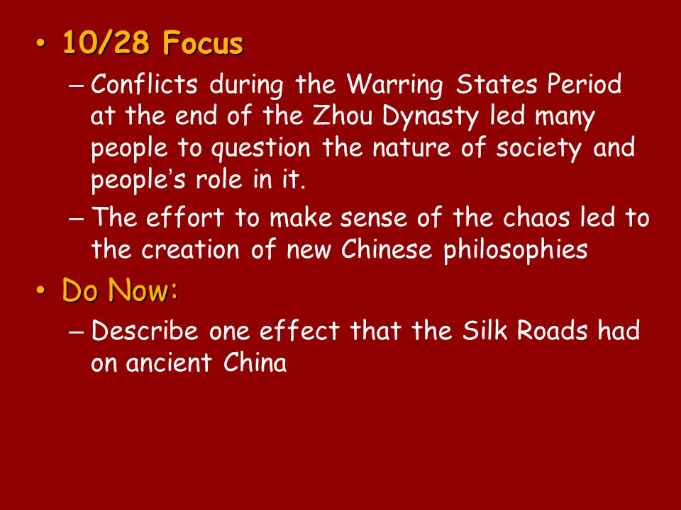 Significance of Confucianism Cornerstone of Chinese tradition and culture – Adopted by most Chinese preserved patriarchal society Spread to areas that were under China's control or influence – Korea and Vietnam