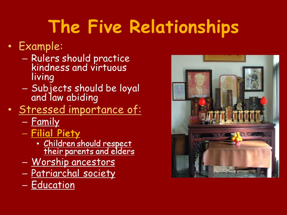 The Five Relationships Example: – Rulers should practice kindness and virtuous living – Subjects should be loyal and law abiding Stressed importance o