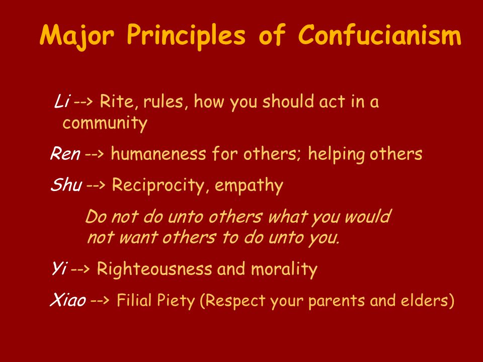 Li --> Rite, rules, how you should act in a community Ren --> humaneness for others; helping others Shu --> Reciprocity, empathy Do not do unto others