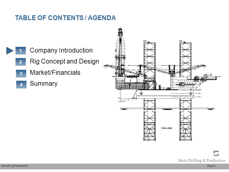 Marketing Presentation Page 3 Company Introduction Rig Concept and Design Market/Financials Summary 1 2 TABLE OF CONTENTS / AGENDA 3 4