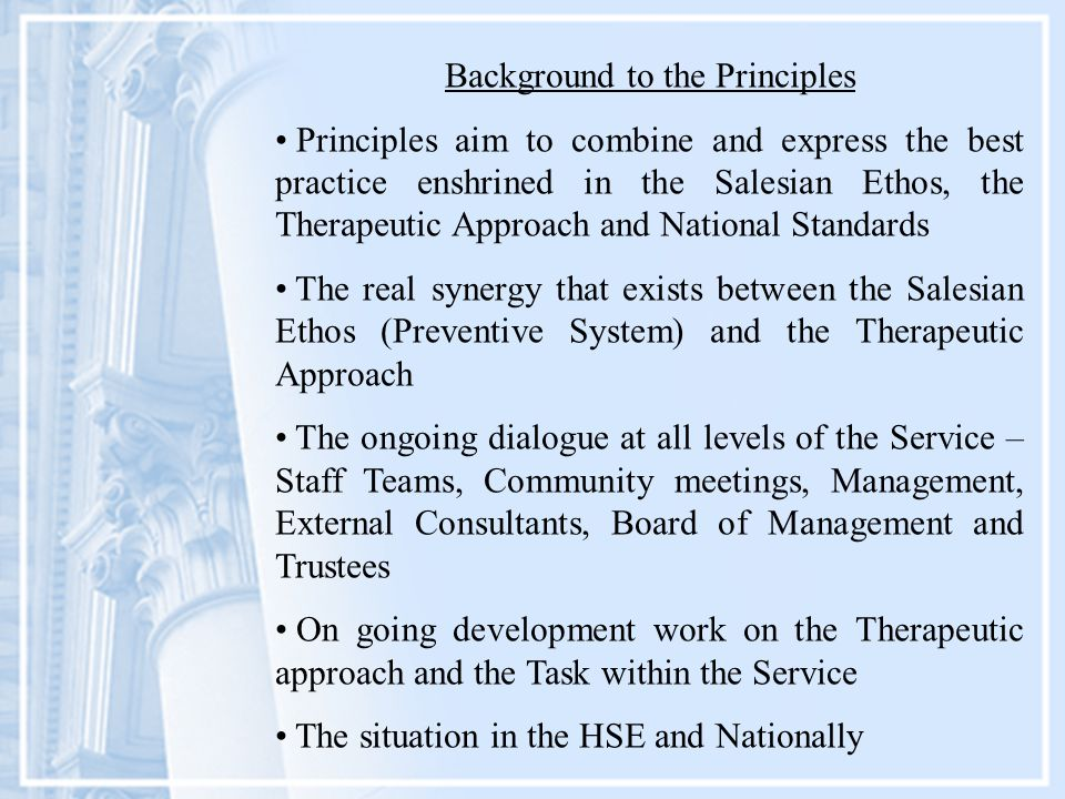 Background to the Principles Principles aim to combine and express the best practice enshrined in the Salesian Ethos, the Therapeutic Approach and National Standards The real synergy that exists between the Salesian Ethos (Preventive System) and the Therapeutic Approach The ongoing dialogue at all levels of the Service – Staff Teams, Community meetings, Management, External Consultants, Board of Management and Trustees On going development work on the Therapeutic approach and the Task within the Service The situation in the HSE and Nationally