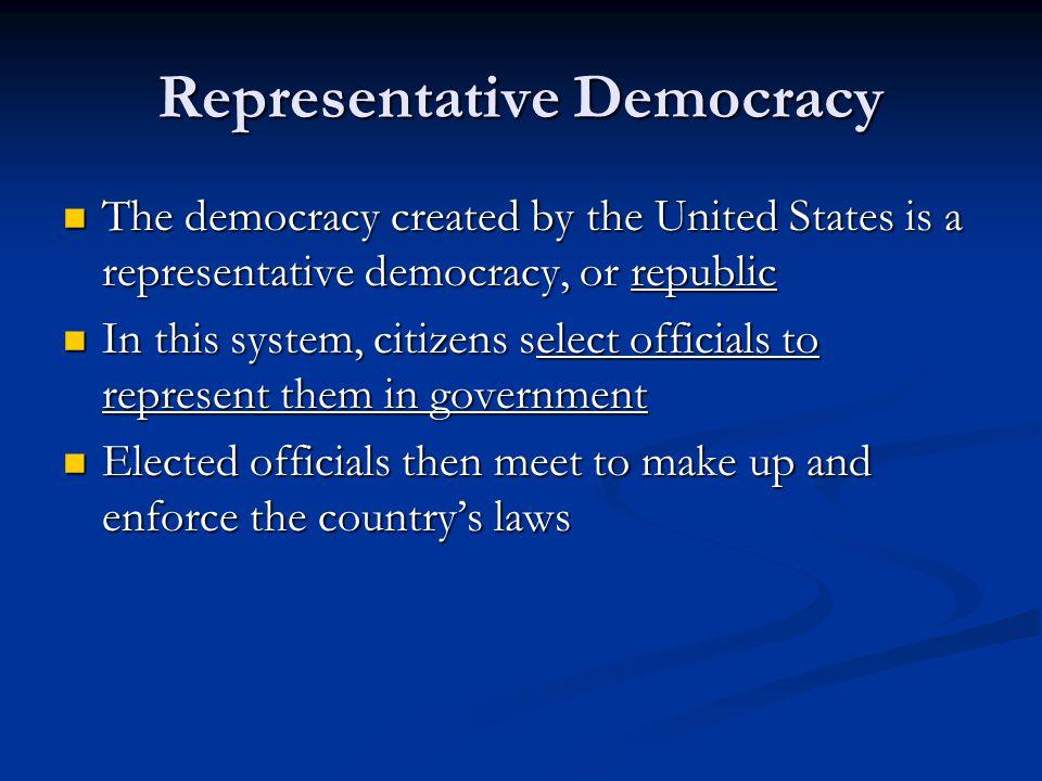 Representative Democracy The democracy created by the United States is a representative democracy, or republic The democracy created by the United Sta