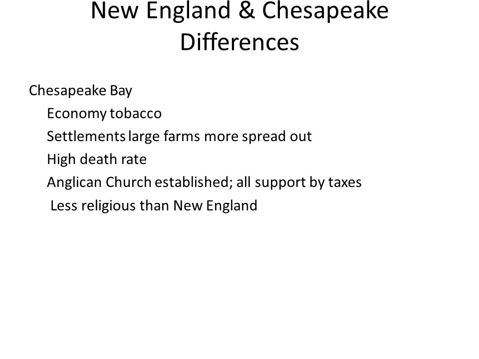 New England & Chesapeake Differences New England Economy lumbering, shipbuilding, fur trading, rum-distilling people are more likely to live in towns, tightly clustered Emigrated as families No separation of Church and State Established schools: Harvard 1636 Highly literate society, more than 50% of men literate
