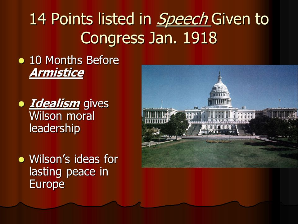 14 Points listed in Speech Given to Congress Jan.