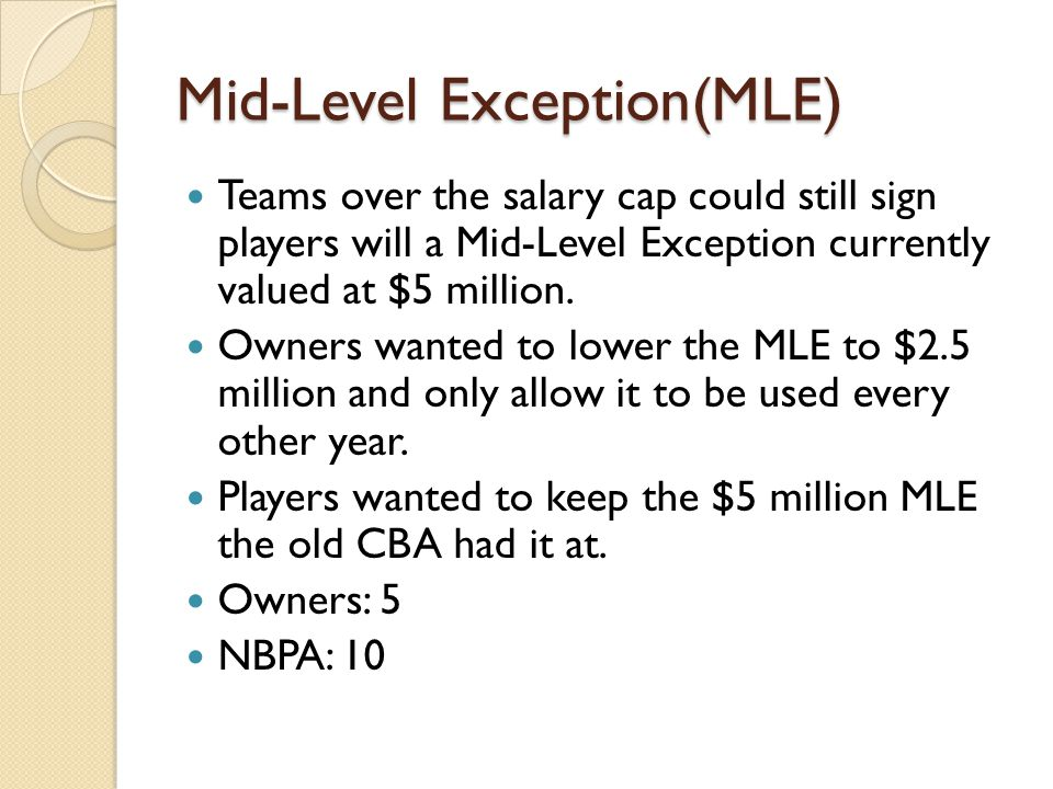 Mid-Level Exception(MLE) Teams over the salary cap could still sign players will a Mid-Level Exception currently valued at $5 million.