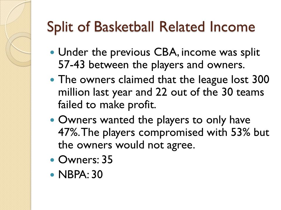 Split of Basketball Related Income Under the previous CBA, income was split 57-43 between the players and owners.