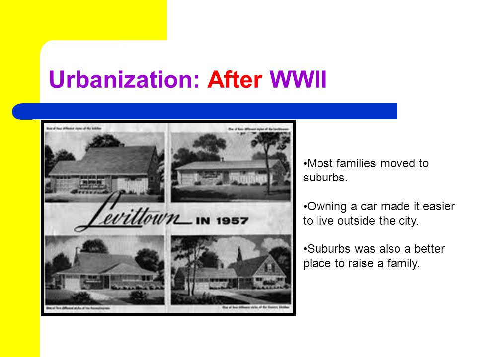 Urbanization: After WWII Most families moved to suburbs.