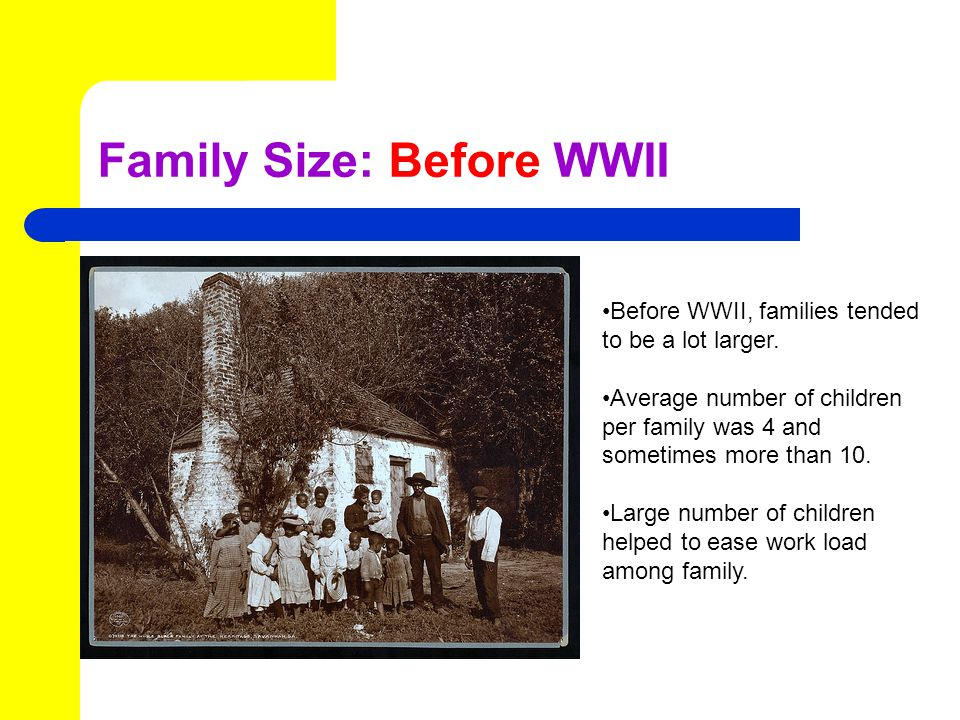 Family Size: Before WWII Before WWII, families tended to be a lot larger.