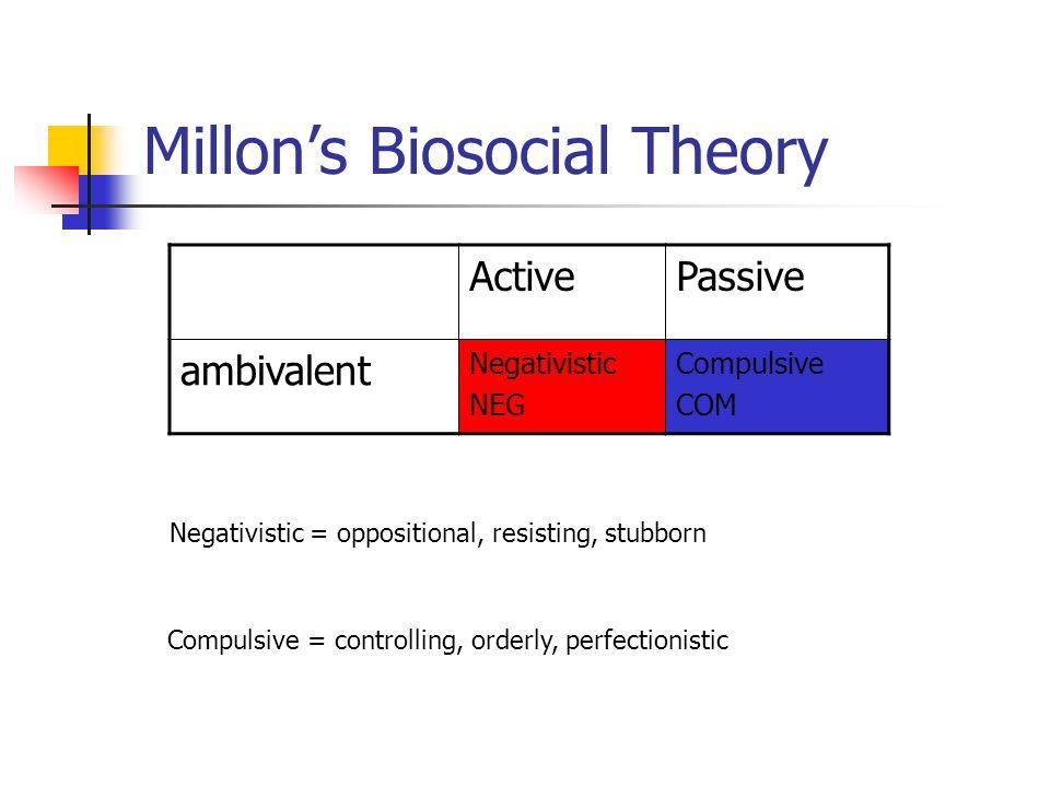 Millon's Biosocial Theory ActivePassive ambivalent Negativistic NEG Compulsive COM Negativistic = oppositional, resisting, stubborn Compulsive = controlling, orderly, perfectionistic