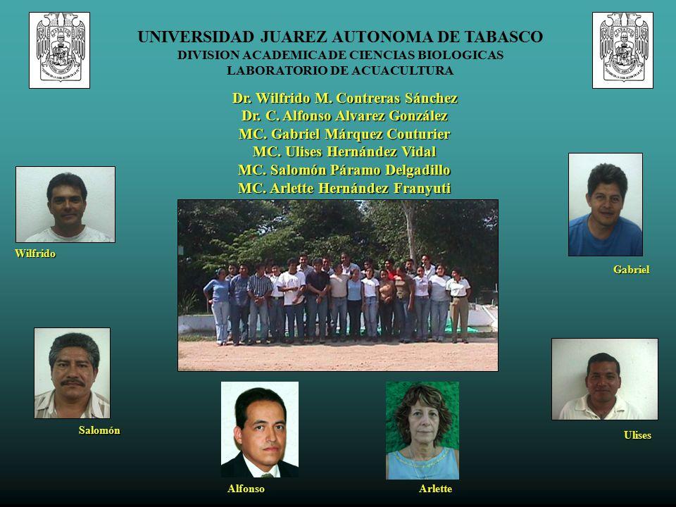 UNIVERSIDAD JUAREZ AUTONOMA DE TABASCO DIVISION ACADEMICA DE CIENCIAS BIOLOGICAS LABORATORIO DE ACUACULTURA Dr.