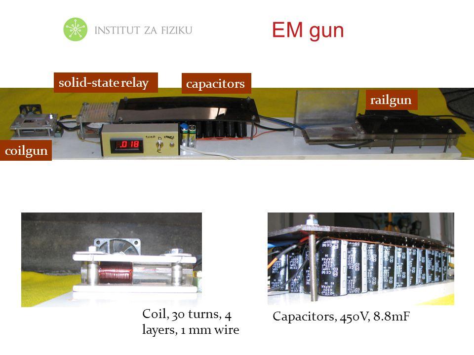 EM gun Coil, 30 turns, 4 layers, 1 mm wire Capacitors, 450V, 8.8mF coilgun capacitors railgun solid-state relay