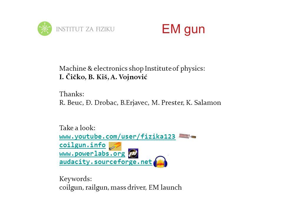 EM gun Machine & electronics shop Institute of physics: I. Čičko, B. Kiš, A. Vojnović Thanks: R. Beuc, Đ. Drobac, B.Erjavec, M. Prester, K. Salamon Ta