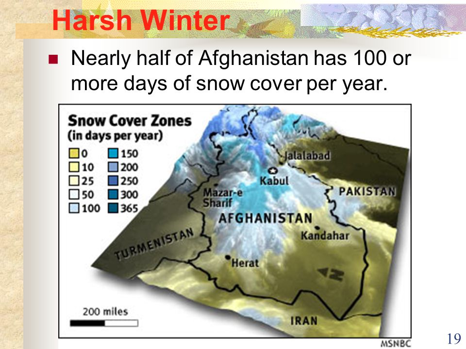 19 Harsh Winter Nearly half of Afghanistan has 100 or more days of snow cover per year.